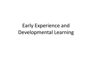 Early Experience and Developmental Learning