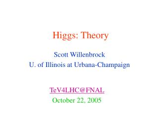 Higgs: Theory