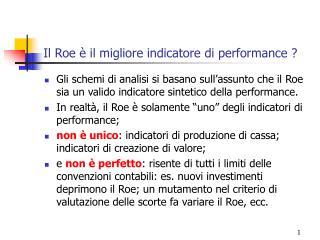 Il Roe è il migliore indicatore di performance ?