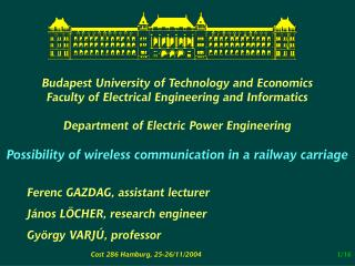 Budapest University of Technology and Economics Faculty of Electrical Engineering and Informatics