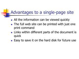 Advantages to a single-page site