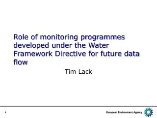 Role of monitoring programmes developed under the Water Framework Directive for future data flow