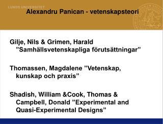 Alexandru Panican - vetenskapsteori