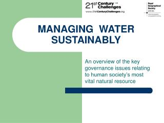 MANAGING  WATER  SUSTAINABLY