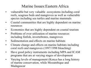 Marine Issues:Eastern Africa