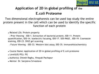 Application of 2D in global profiling of  the  E.coli Proteome