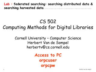 Lab :  federated searching: searching distributed data & searching harvested data