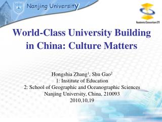 World-Class University Building in China: Culture Matters