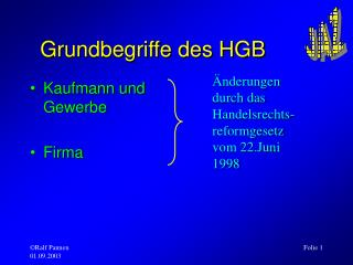 Grundbegriffe des HGB