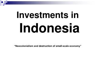 Investments in  Indonesia �Neocolonialism and  destruction of small-scale economy�