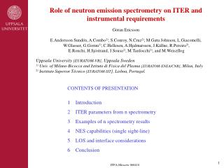 Role of neutron emission spectrometry on ITER and instrumental requirements Göran Ericsson