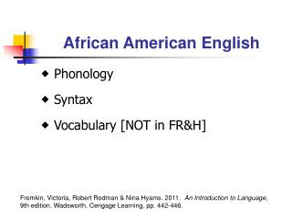 an introduction to black english and ebonics Essay ebonics introduction this is an english exam paper prepared for the evu2-edb course at  black english gets respect - ebonics debate comes to.
