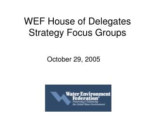 WEF House of Delegates Strategy Focus Groups