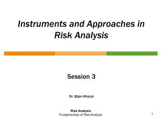 Instruments and Approaches in Risk Analysis
