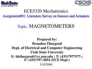 ECE5320 Mechatronics Assignment01: Literature Survey on Sensors and Actuators   Topic: MAGNETOMETERS
