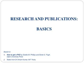 RESEARCH AND PUBLICATIONS: BASICS