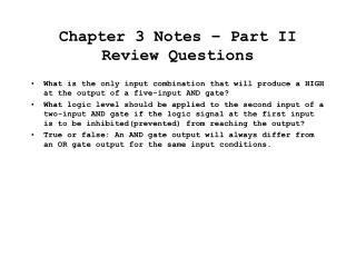 Chapter 3 Notes   Part II Review Questions