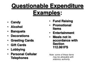 Questionable Expenditure Examples :