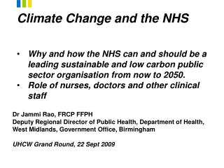 Climate Change and the NHS