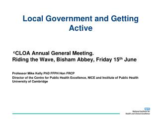 Local Government and Getting Active