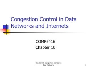 Congestion Control in Data Networks and Internets