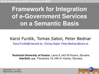 Framework for Integration of e-Government Services on a Semantic Basis
