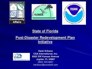 State of Florida Post-Disaster Redevelopment Plan Initiative