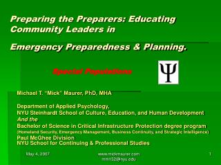 Preparing the Preparers: Educating Community Leaders in  Emergency Preparedness & Planning.