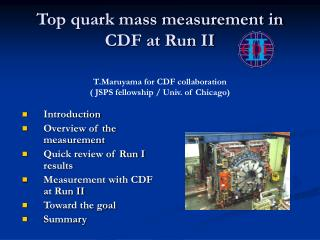 Top quark mass measurement in CDF at Run II