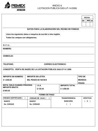 DATOS PARA LA ELABORACIÓN DEL RECIBO DE FONDOS