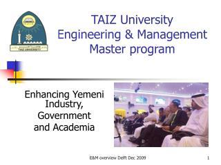 TAIZ University  Engineering & Management Master program