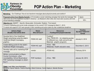 POP Action Plan – Marketing