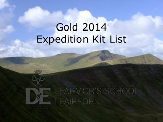 Gold 2014  Expedition Kit List