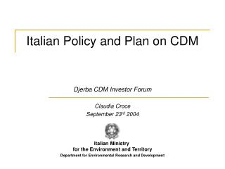 Italian Policy and Plan on CDM