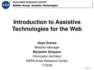 Introduction to Assistive Technologies for the Web