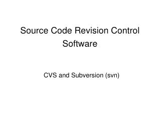Source Code Revision Control Software