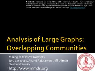 Analysis of Large Graphs: Overlapping Communities