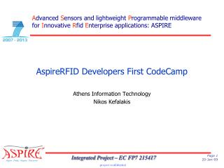 AspireRFID Developers First CodeCamp Athens Information Technology Nikos Kefalakis