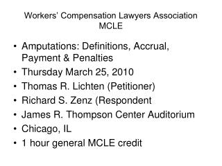 Workers' Compensation Lawyers Association MCLE