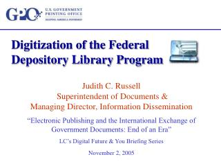 Digitization of the Federal Depository Library Program