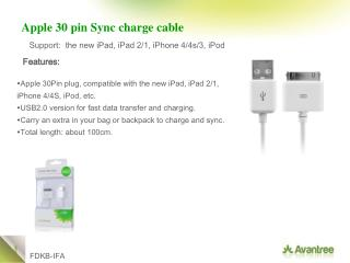 Apple 30 pin Sync charge cable