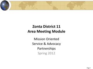 Zonta District 11 Area Meeting Module