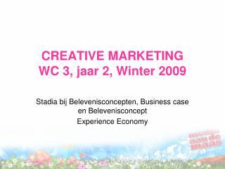 CREATIVE MARKETING WC 3, jaar 2, Winter 2009