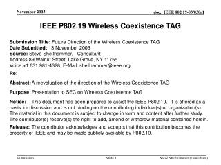 IEEE P802.19 Wireless Coexistence TAG