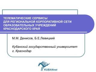 М.М. Денисов ,  Б.Е.Левицкий Кубанский государственный университет г. Краснодар