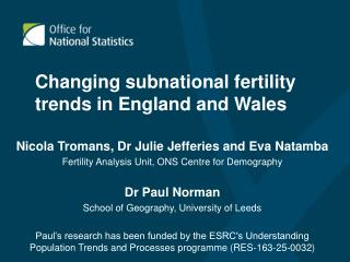 Changing subnational fertility trends in England and Wales