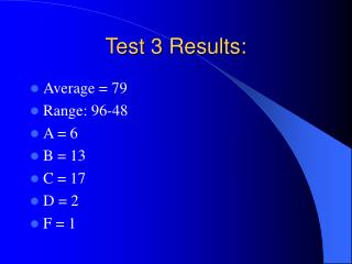 Test 3 Results: