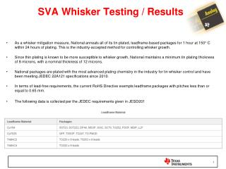 SVA Whisker Testing / Results