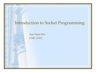 Introduction to Socket Programming