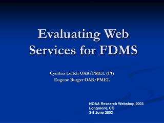 Evaluating Web Services for FDMS